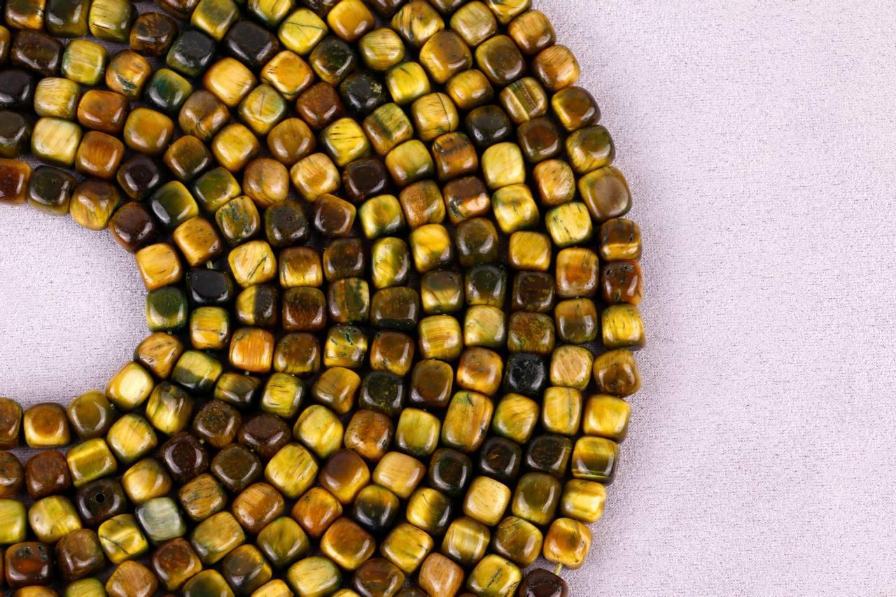 رشته چشم ببر مکعبی زرد و قهوه ای