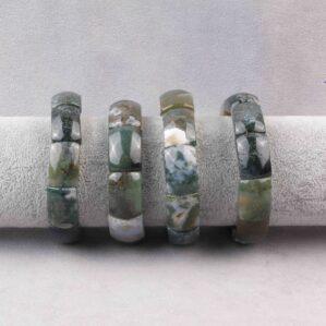 دستبند عقیق خزه ای مستطیل