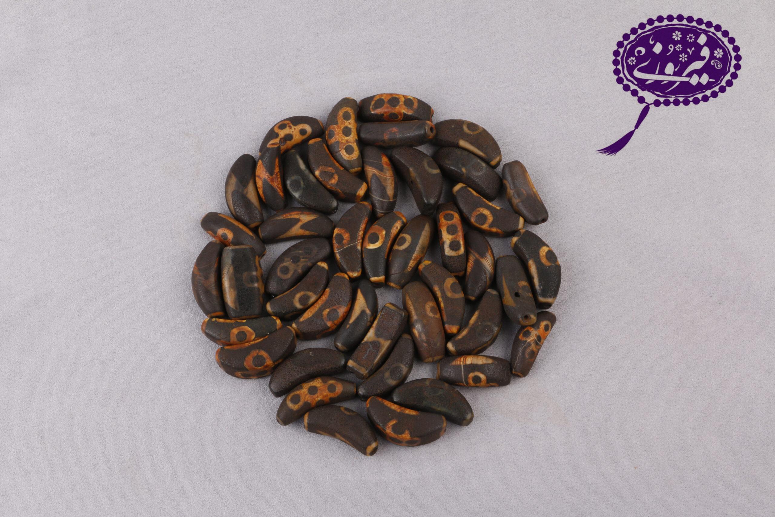میانکار عقیق بودایی قهوه ای تیره